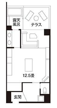 温泉露天風呂付きの和室(12.5畳)間取り